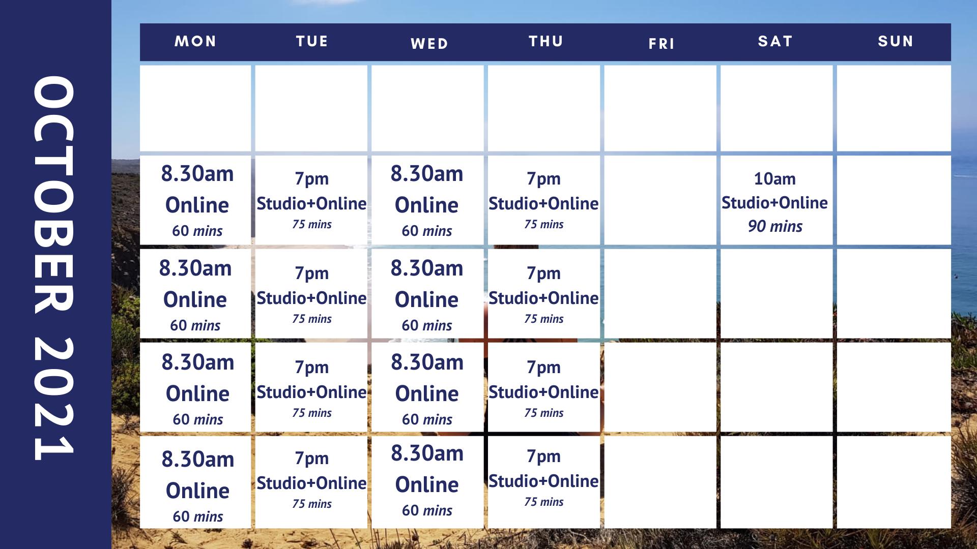 October yoga class timetable